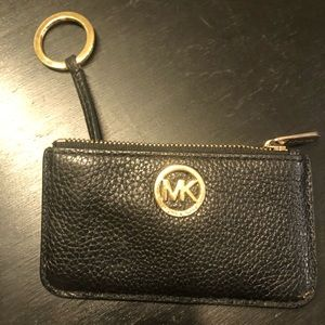 Used Michael Kors black leather coin purse